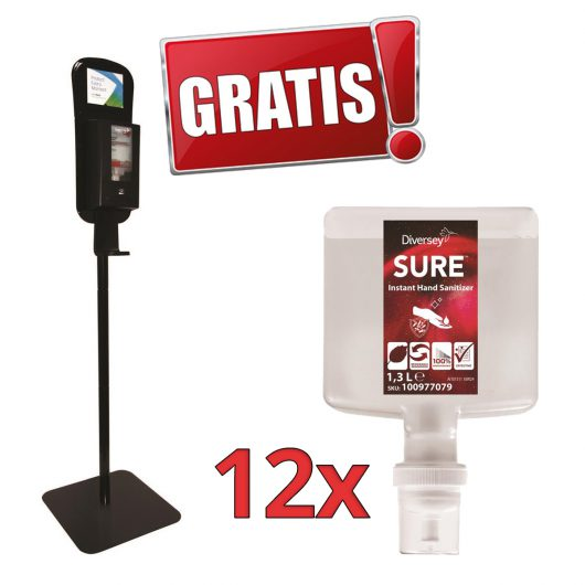 Gratis IntelliCare vloerstandaard bij 12x SURE Instant Hand Sanitizer handdesinfectiemiddel 4×1.3L
