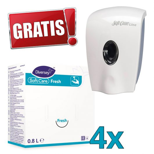 Gratis Soft Care Line zeepdispenser bij Soft Care Fresh handzeep